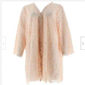 Isaac Mizrahi Open Front 3/4 Sleeve Lace Kimono